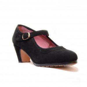 Zapato  flamenco ante negro con hebilla y clavos