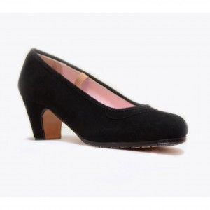 Zapato flamenco profesional ante negro con clavos